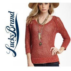 NWT LUCKY BRAND OPEN STITCH SWEATER MED IN CERISE
